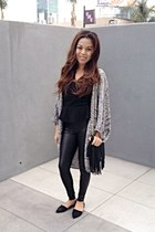 black leather Forever 21 leggings - black fringe H&M bag