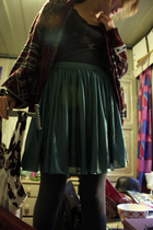 red cardigan - blue Mod Cloth skirt
