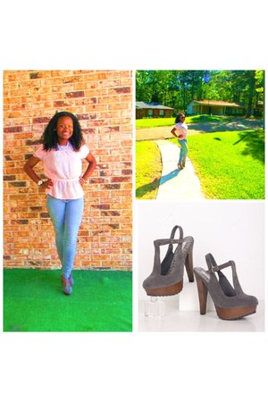 charcoal gray clogs - light pink blouse - periwinkle pants