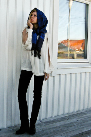 black Only jeans - blue thailand scarf - cream H&M Trend blouse - black minimark