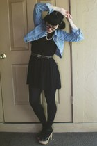black drop waist H&M dress - light blue denim Forever21 jacket