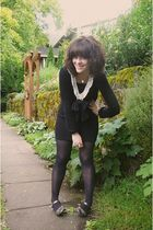 black Yesstyle dress - black Target tights - gold shoes - gold necklace