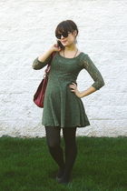 green Target dress - gray Old Navy shoes - black Target tights - red UO bag