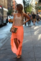 orange skirt - tan shirt - white heels