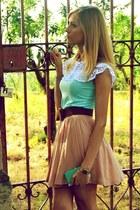 turquoise OASAP shirt - turquoise Topshop purse - tan H&M skirt