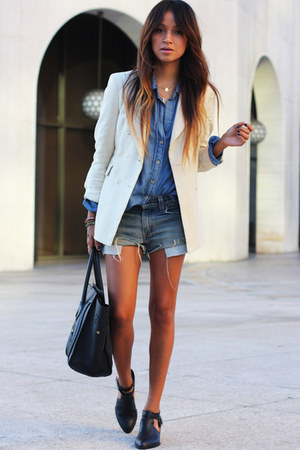 black coach bag - white banana republic blazer - blue Forever 21 shirt