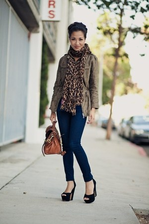 leopard print Forever 21 scarf - tan banana republic jacket - orange coach bag