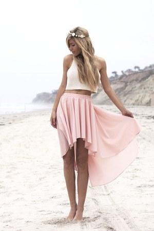 light pink hm skirt - flowers hat - white crop hm shirt