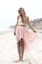 light pink hm skirt - flowers hat - white crop hm shirt