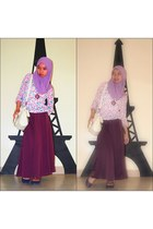purple purple DIY skirt - beige bow-knot OASAP bag
