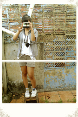 silver shirt - silver shorts - black necklace - white shoes