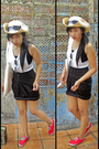 White-top-black-top-black-skirt-silver-sunglasses-beige-hat
