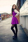 black cut out Topshop boots - purple pleated skater Topshop dress