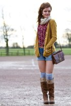 tan suede next boots - gold River Island cardigan
