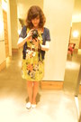 Floral-print-anthropologie-dress-navy-blue-urban-outfitters-cardigan-brown-l