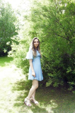 blue vintage dress - pink Topshop shoes