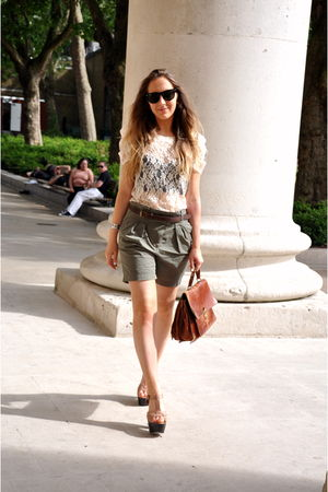 brown brown satchel vintage bag - brown Topshop shoes - green Zara shorts
