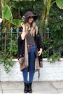 Brown-h-m-hat-black-vintage-jacket-black-boots-blue-jacket