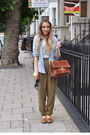 White-topshop-blouse-blue-vintage-shirt-green-zara-pants-brown-topshop-sho