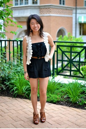 crochet thrifted vest - black Forever 21 romper