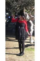 red top - black dress - black tights