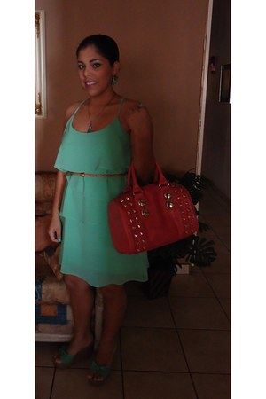 Forever 21 dress - Aldo bag - Bakers wedges - Claires necklace - Old Navy belt