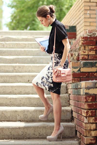 asos pumps - Zara skirt - Marc Jacobs blouse - tissot watch