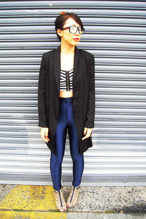 cropped H&amp;M top - H&amp;M shoes - black H&amp;M blazer - American Apparel pants