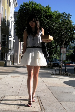 blue oversize tank H&amp;M - black studded belt thrifted - white tutu skirt H&amp;M Kids