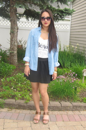 white beauty Forever 21 shirt - light blue jean vintage shirt
