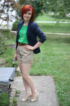 Forever 21 shorts - navy blue H&M jacket - polka dot thrifted vintage blouse