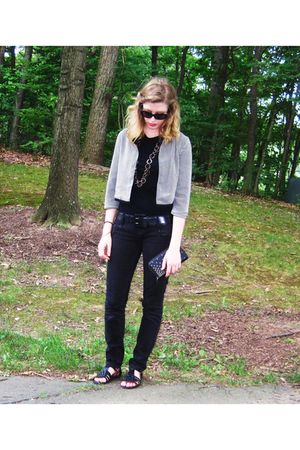 black Mossimo blouse - black Bershka jeans - Forever 21 shoes - black Lux wallet