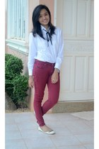 white blouse - beige flats - brick red pants - black necklace