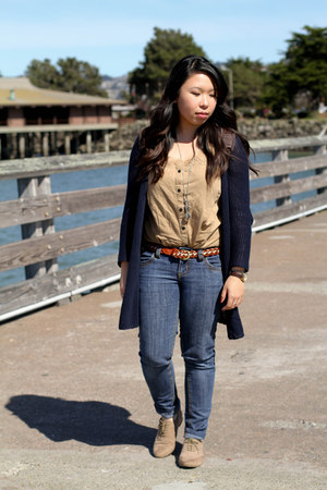 navy knitted Old Navy cardigan - nude suede Forever 21 shoes