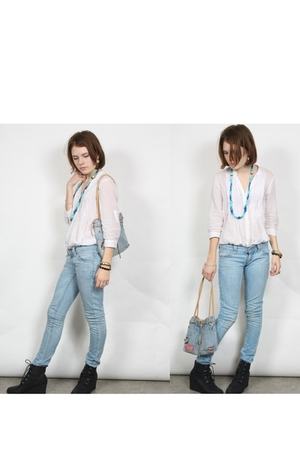 blue Levis jeans - blue self-made necklace - white Saint Tropez blouse