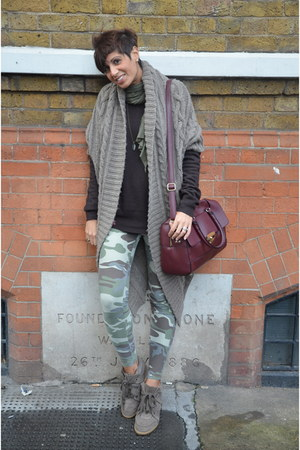 Guess cardigan - RARE sweater - Topshop leggings - Topshop bag