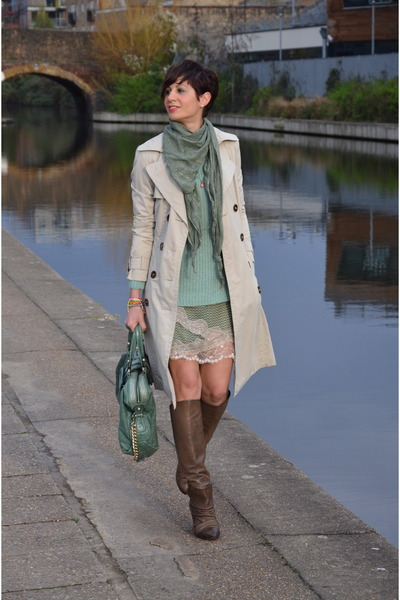 turquoise blue Marciano bag - light brown marsell boots