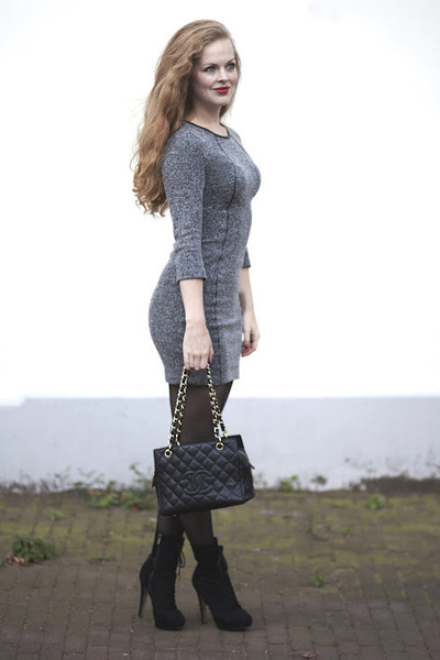 black Bershka boots - gray H&M dress - black Chanel bag