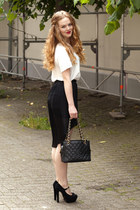 black Zara skirt - black Chanel bag - white H&M Trend blouse