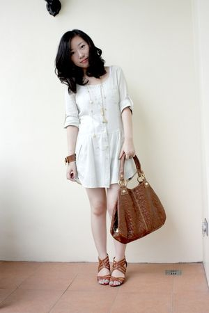 gold vintage and new necklace - brown strappy wedges from hong kong shoes