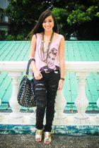 pink LoveCulture top - gold Wisdom necklace - black Stylebreak jeans - black Maf