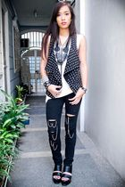 black studded Forever 21 vest - black Forever 21 shoes