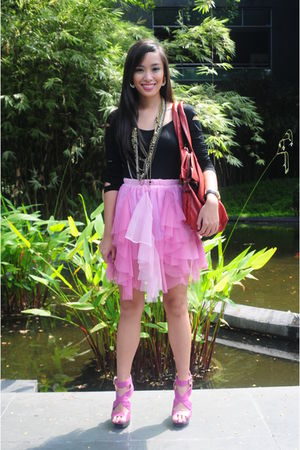 black Stylebreak top - pink Glitterati skirt - purple bought online shoes - gold