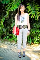 white Topshop top - gray Depaige Manila pants - black random brand belt - red Za
