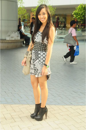 gray Topshop dress - silver Glitterati skirt - black Topshop boots - gray random