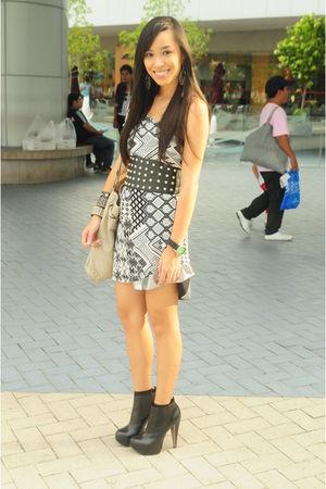 gray Topshop dress - silver Glitterati skirt - black Topshop boots - gray random