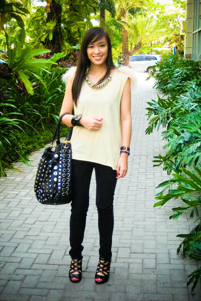 beige Stylebreak top - black Mango jeans - black bought online shoes - black pea