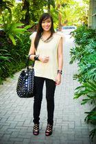 beige Stylebreak top - black Mango jeans - black bought online shoes - black pea