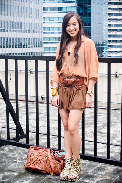 brown see thru from Rockwell bazaar top - brown boots Fivebyfive shoes