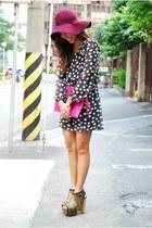black polka dots Forever 21 dress - maroon Forever 21 hat
